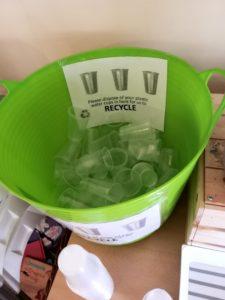 Plastic cup bin